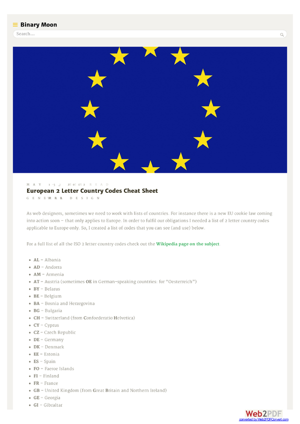 EU 2 Letter Country Codes Cheat Sheet by BinaryMoon Download