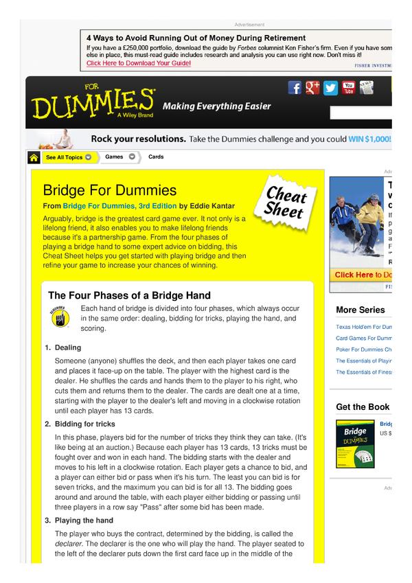 poker for dummies cheat sheet