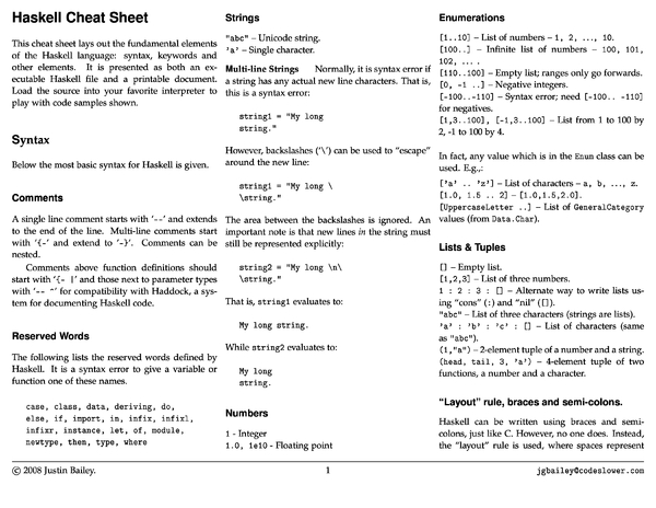 Haskell Cheat Sheet by Cheatography - Download free from ...