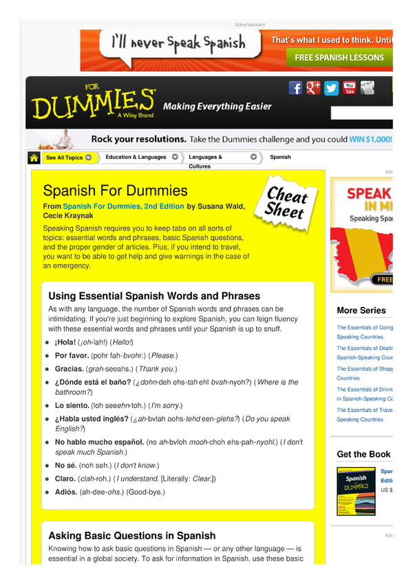Spanish For Dummies Cheat Sheet By Cheatography