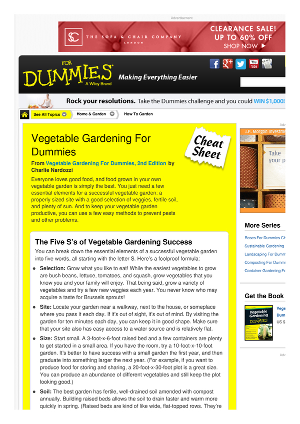 vegetable gardening for dummies cheat sheet by cheatography download free from cheatography