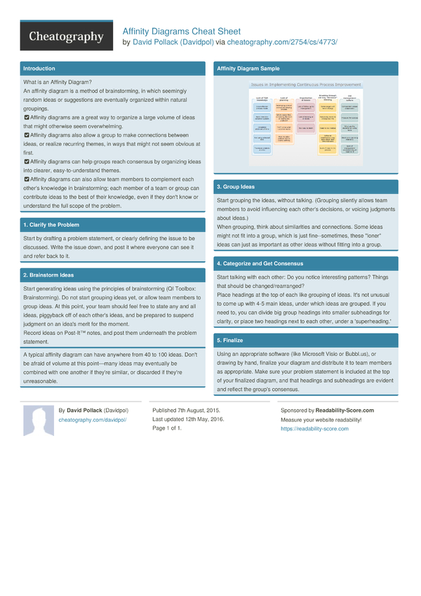 affinity diagrams cheat sheet by davidpol download free