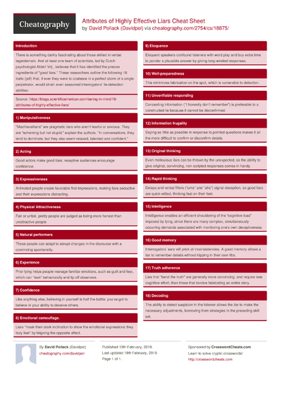 Attributes of Highly Effective Liars Cheat Sheet