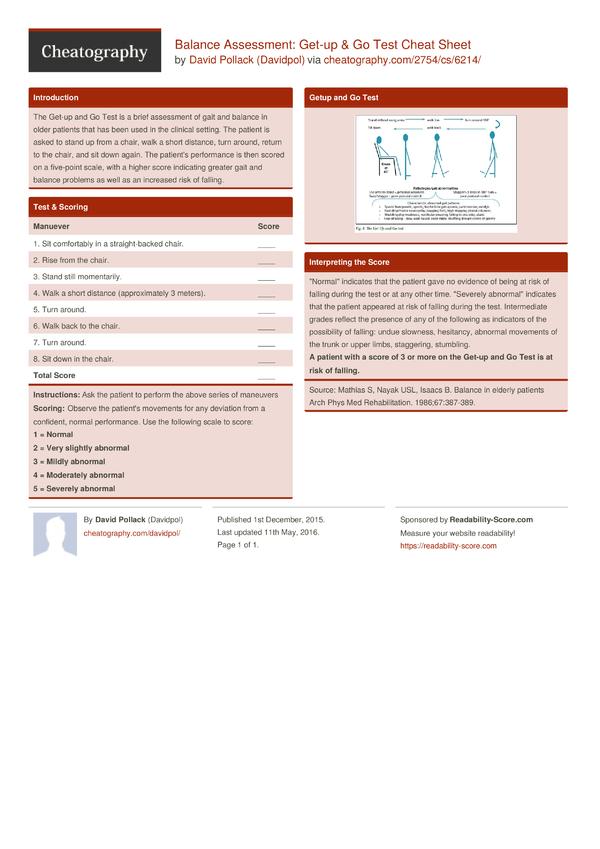 Balance Assessment: Get-up & Go Test Cheat Sheet by Davidpol