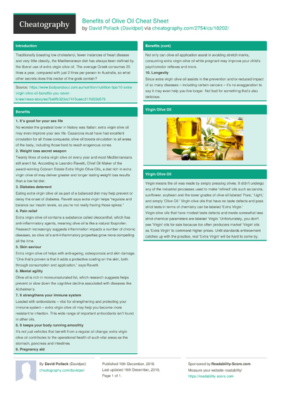 Benefits of Olive Oil Cheat Sheet