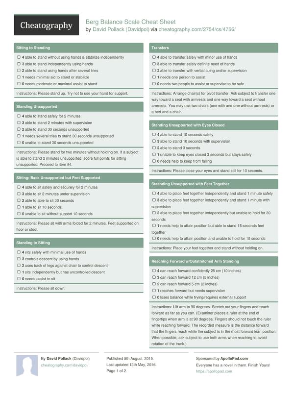 Berg Balance Scale Cheat Sheet by Davidpol - Download free from ...