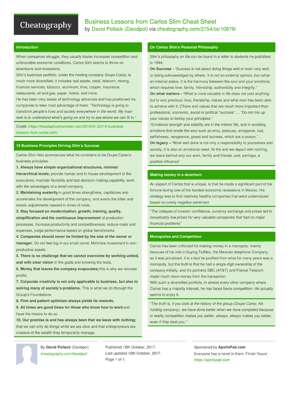 Business Lessons From Carlos Slim Cheat Sheet By Davidpol