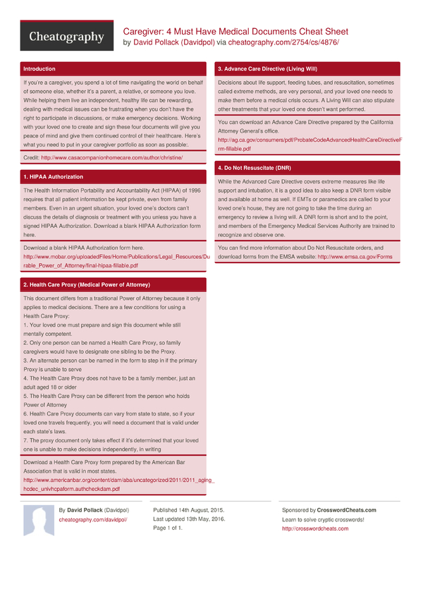 Caregiver: 4 Must Have Medical Documents Cheat Sheet By Davidpol