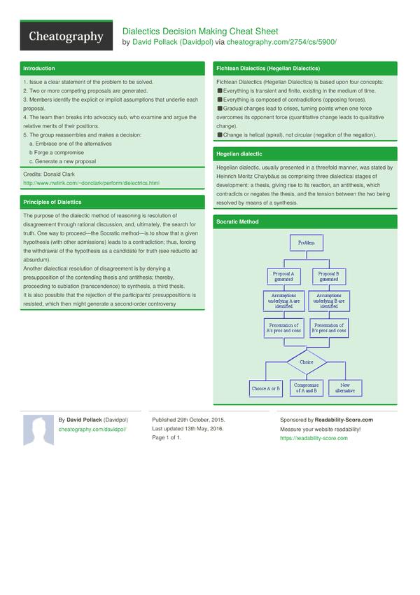 The Balance Sheet Decision Technique