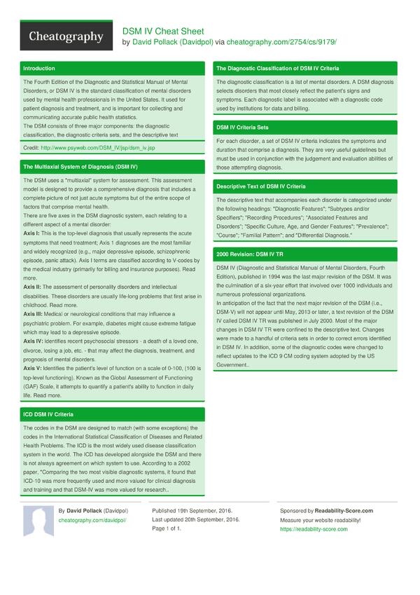 dsm iv research paper