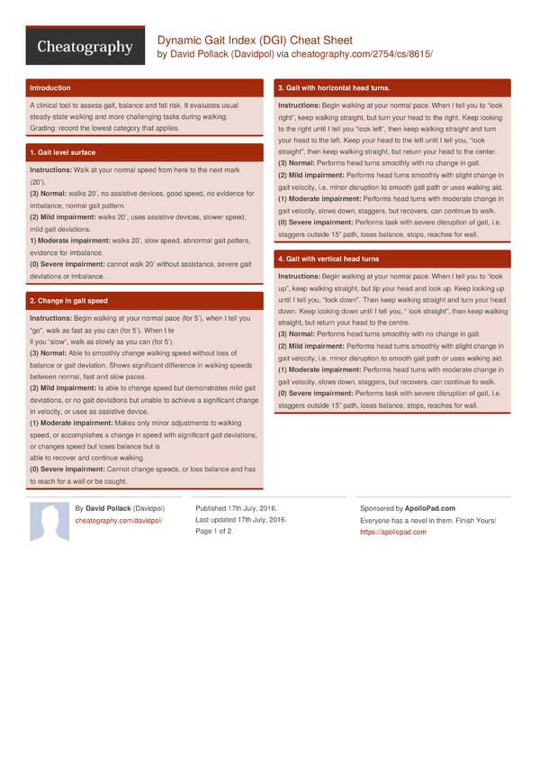 dynamic gait index  dgi  cheat sheet by davidpol