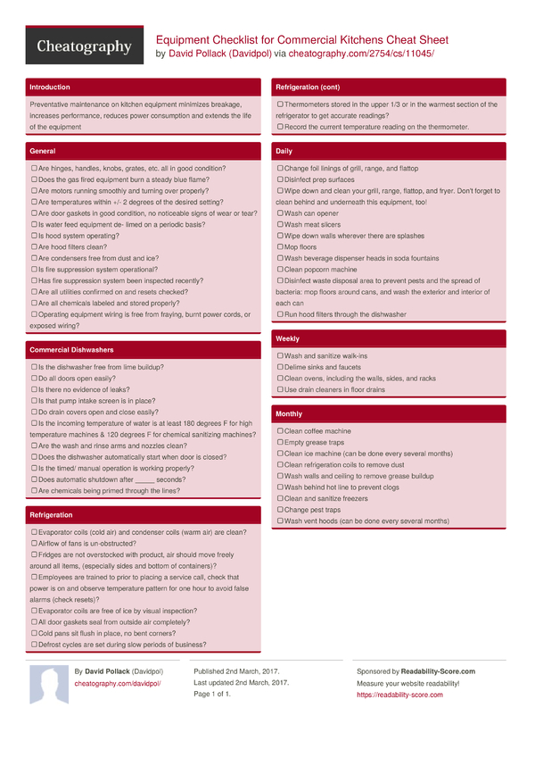 Equipment Checklist For Commercial Kitchens Cheat Sheet By
