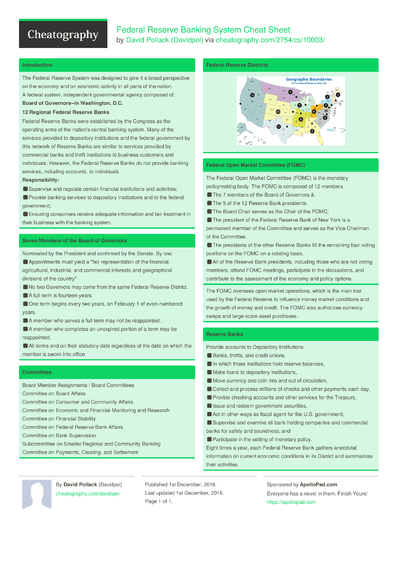 Federal Reserve Banking System Cheat Sheet