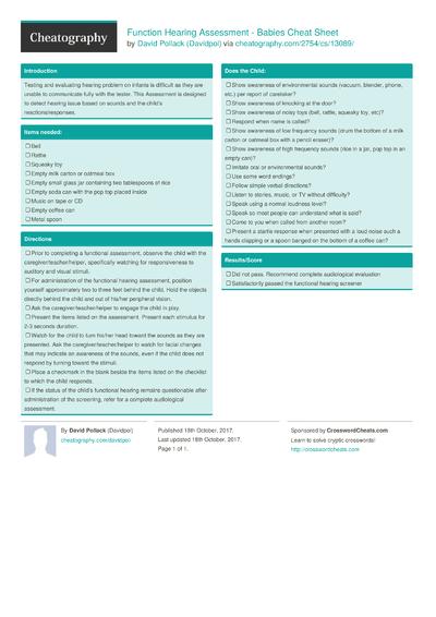 Function Hearing Assessment - Babies Cheat Sheet