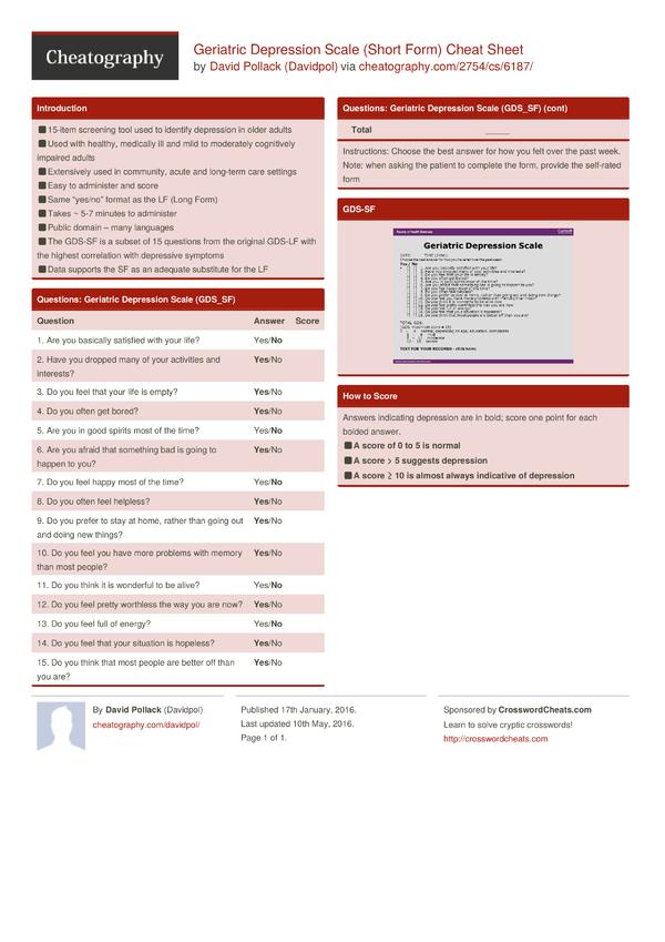 Geriatric Depression Scale (Short Form) Cheat Sheet by Davidpol ...