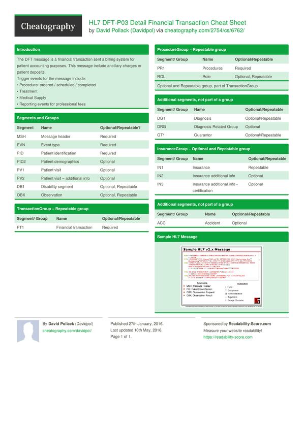 HL7 DFT-P03 Detail Financial Transaction Cheat Sheet by ...
