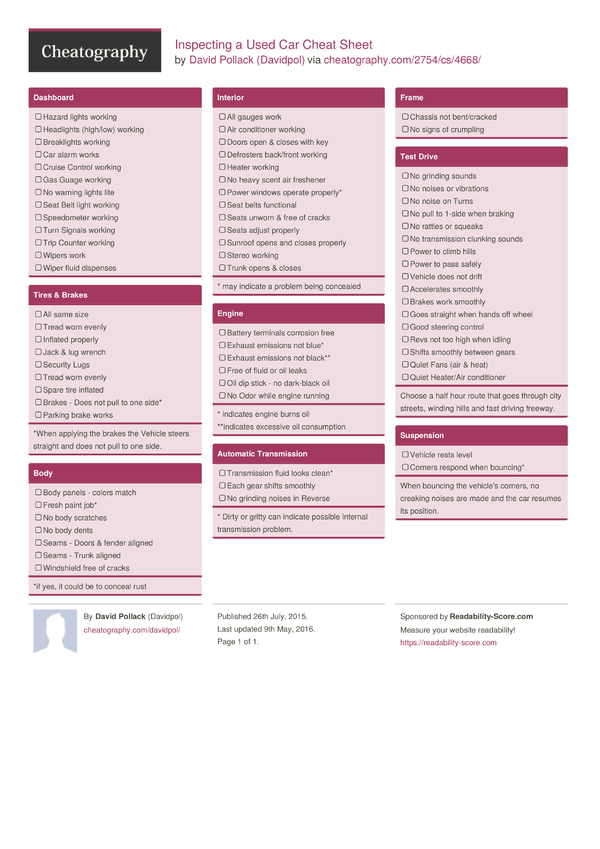 Inspecting A Used Car Cheat Sheet By Davidpol Download