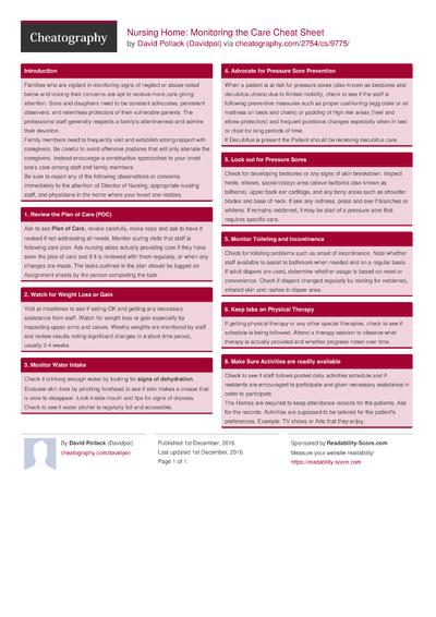 Nursing Home: Monitoring the Care Cheat Sheet