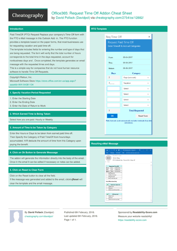 office365  request time off addon cheat sheet by davidpol