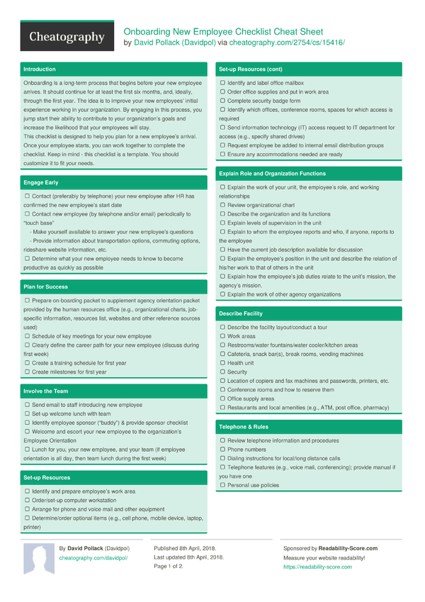 onboarding new employee checklist cheat sheet by davidpol download free from cheatography. Black Bedroom Furniture Sets. Home Design Ideas