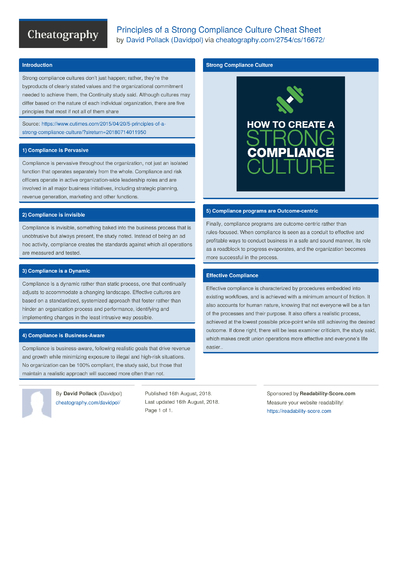 Principles of a Strong Compliance Culture Cheat Sheet
