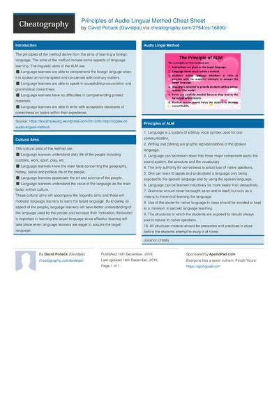 Principles of Audio Lingual Method Cheat Sheet