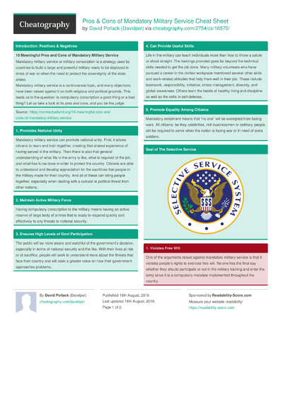Pros & Cons of Mandatory Military Service Cheat Sheet