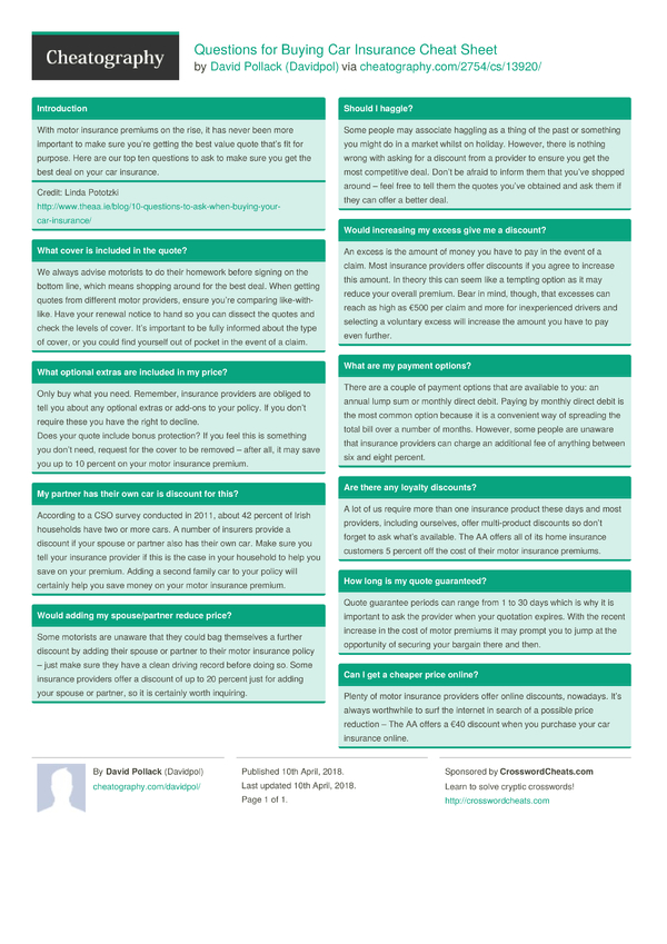 questions for buying car insurance cheat sheet by davidpol download free from cheatography. Black Bedroom Furniture Sets. Home Design Ideas