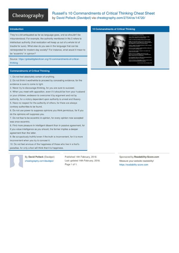 ultimate cheatsheet for critical thinking pdf