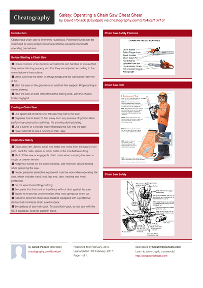 Safety: Operating a Chain Saw Cheat Sheet