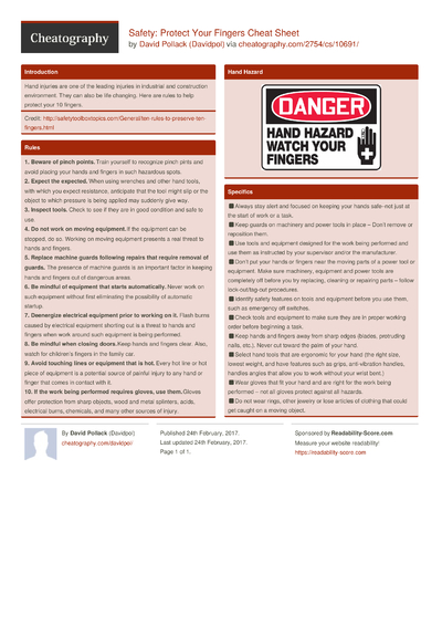 Safety: Protect Your Fingers Cheat Sheet