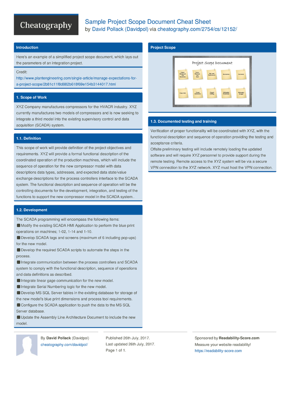 Sample project scope document cheat sheet by davidpol for Project scope document template free