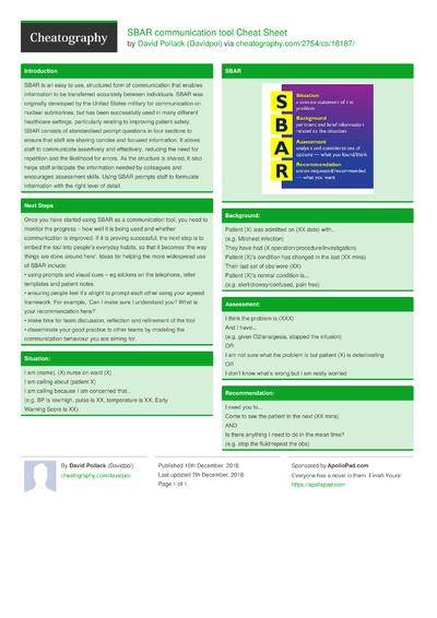 SBAR communication tool Cheat Sheet