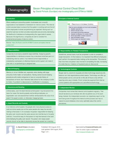 Seven Principles of Internal Control Cheat Sheet