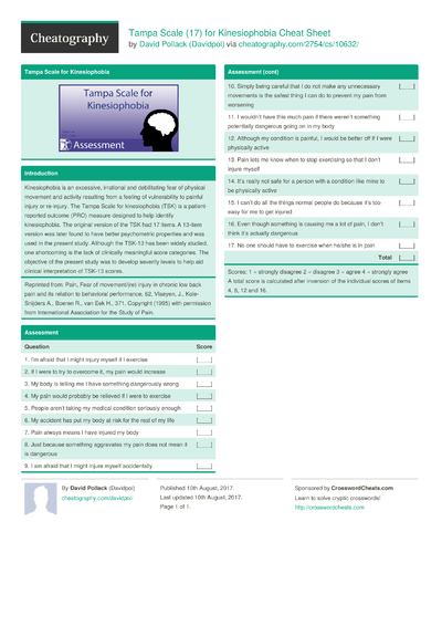 Tampa Scale (17) for Kinesiophobia Cheat Sheet