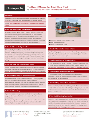 Ten Rules of Mexican Bus Travel Cheat Sheet