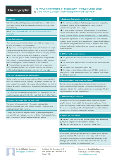 The 10 Commandments of Typography - Fontyou Cheat Sheet
