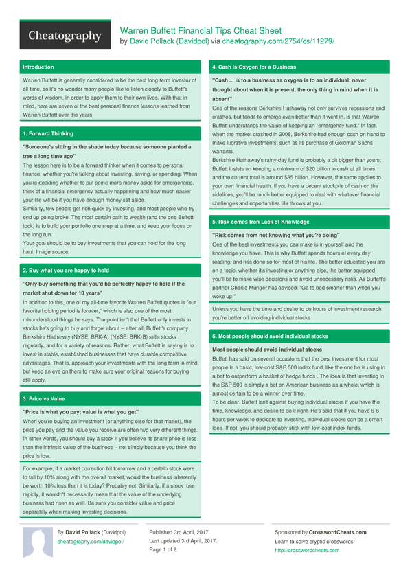 English In Italian: Warren Buffett Financial Tips Cheat Sheet By Davidpol