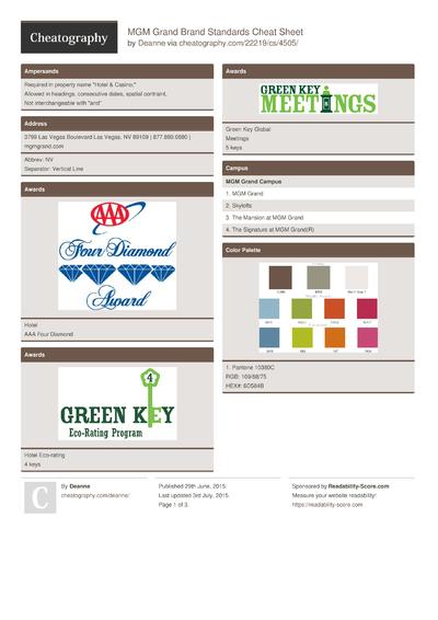 MGM Grand Brand Standards Cheat Sheet