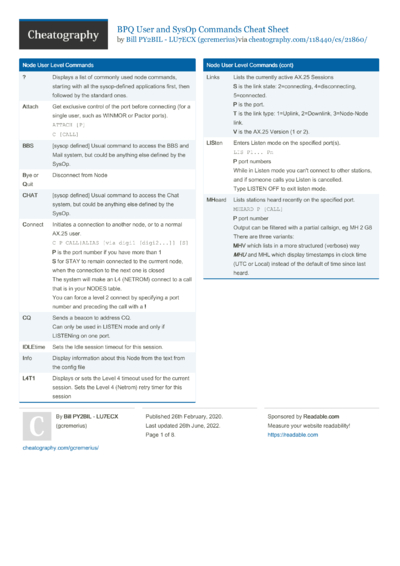 BPQ User and Sysop Commands Cheat Sheet