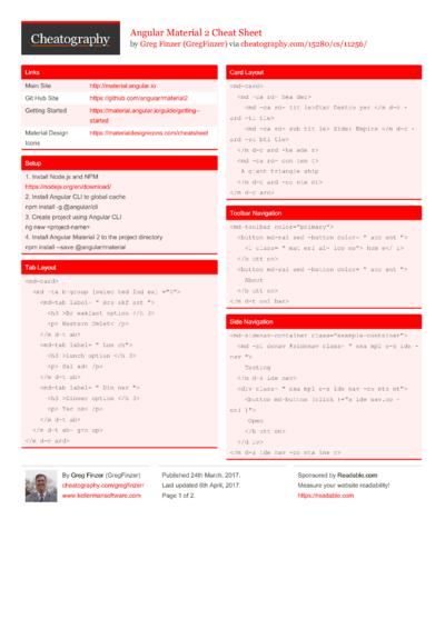 Angular Material 2 Cheat Sheet