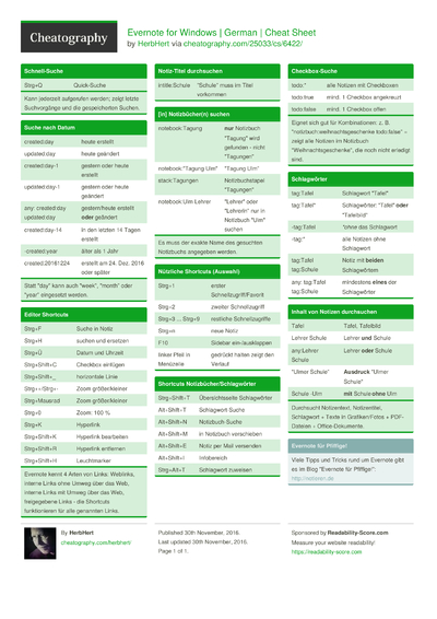 Evernote for Windows | German | Cheat Sheet