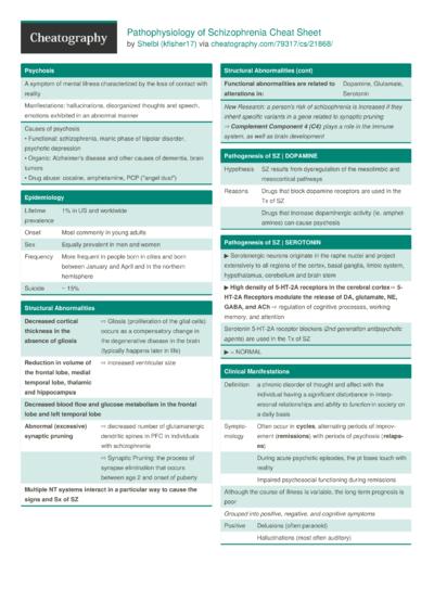 Pathophysiology of Schizophrenia Cheat Sheet