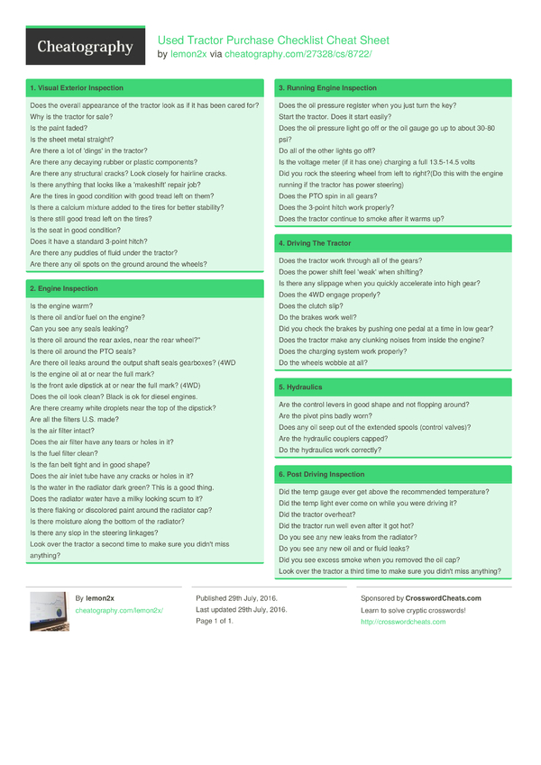 Used Tractor Purchase Checklist Cheat Sheet by lemon2x