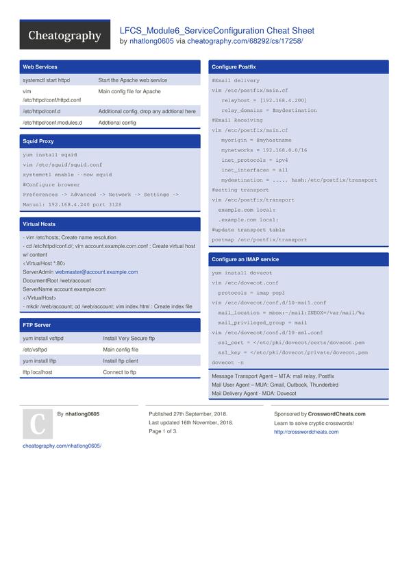 LFCS_Module6_ServiceConfiguration Cheat Sheet by