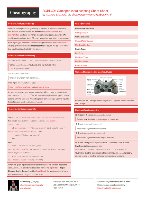 ROBLOX: Gamepad Input Scripting Cheat Sheet By Ozzypig