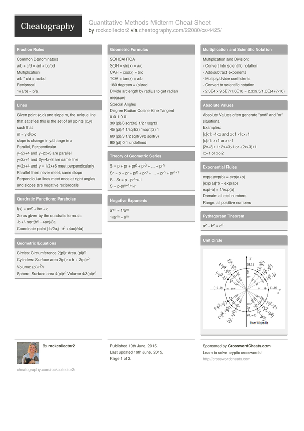 Quantitative Methods Midterm Cheat Sheet by rockcollector2