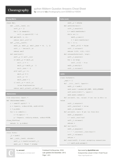 python Midterm Question Answers Cheat Sheet