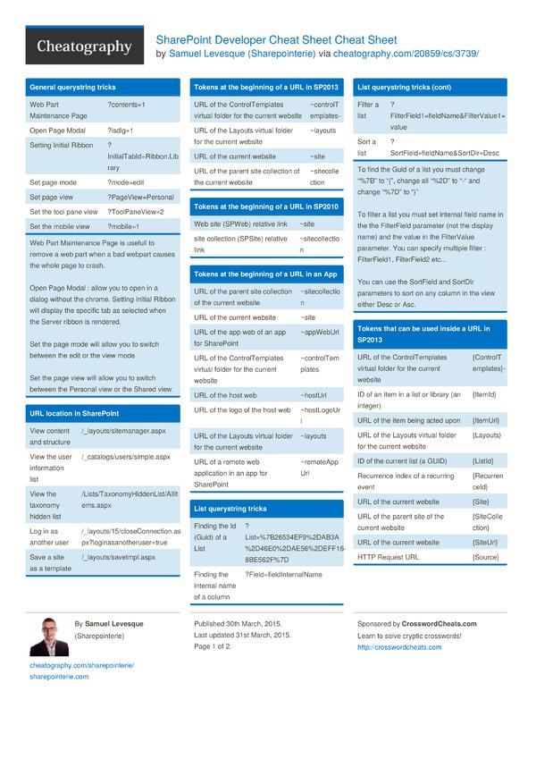 sharepoint developer cheat sheet cheat sheet by