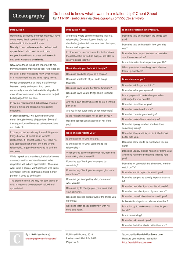Do I need to know what I want in a relationship? Cheat Sheet